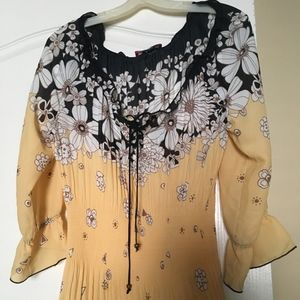 Yellow Black White Floral 3/4 Sleeve Blouse
